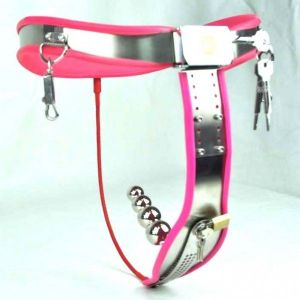 Female Adjustable Curve-T Stainless Steel Chastity Belt Locking Cover Removable Vaginal Plug PINK