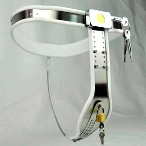 Female Adjustable Curve-T Stainless Steel Premium Chastity Belt with Locking Cover Removable WHITE