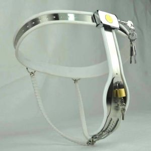 Female Adjustable Model-Y Stainless Steel Premium Chastity Belt Locking Cover Removable WHITE