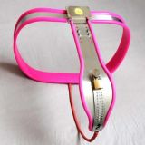 BDSM (БДСМ) - Female Adjustable Curve-T Stainless Steel Premium Chastity Belt with Locking Cover Removable PINK