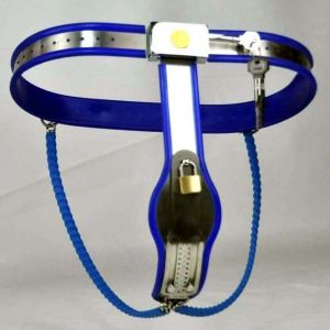 Female Adjustable Model-Y Stainless Steel Premium Chastity Belt Locking Cover Removable BLUE