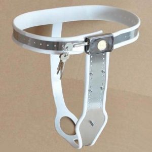 Female Adjustable Model-T Stainless Steel Premium Chastity Belt with Locking Cover Removable WHITE