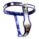 Female Adjustable Model-T Stainless Steel Premium Chastity Belt with Locking Cover Removable BLUE