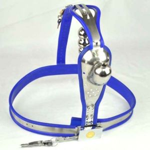 Male Fully Adjustable Model-T Stainless Steel Premium Chastity Device with hole Cage Cover BLUE Plug