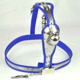 BDSM (БДСМ) - Male Fully Adjustable Model-T Stainless Steel Premium Chastity Device with Hole Cage Cover BLUE Plug