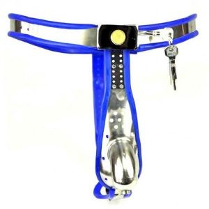 Male Fully Adjustable Model-T Stainless Steel Premium Chastity Device with hole Cage Cover BLUE
