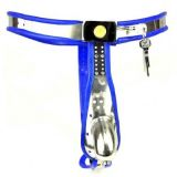 BDSM (БДСМ) - Male Fully Adjustable Model-T Stainless Steel Premium Chastity Device with Hole Cage Cover BLUE
