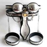 BDSM (БДСМ) - Male Fully Adjustable Model-T Stainless Steel Premium Chastity Belt + Thigh Bands + Bra Kit BLACK