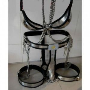 Male Fully Adjustable Model-T with Cage and Plug and Urethral Tube + Thigh Bands + Bra Kit BLACK