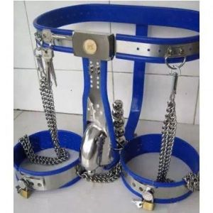 Male Fully Adjustable Model-T with Cage and Plug and Urethral Tube + Thigh Bands BLUE
