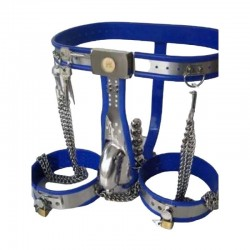 Male Fully Adjustable Model-T with Cage and Plug and Urethral Tube Thigh Bands BLUE