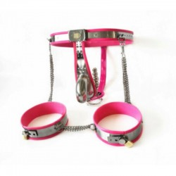 Male Fully Adjustable Model-T with Cage and Plug and Urethral Tube Thigh Bands PINK