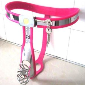 Male Fully Adjustable Curve-T Stainless Steel Premium Chastity Belt with Jail house Cage PINK