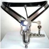 BDSM (БДСМ) - Male Adjustable Model-Y Stainless Steel Premium Chastity Belt with Chian and Plug and Urethral Tube