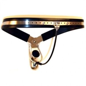 Male Adjustable Model-Y Stainless Steel Premium Chastity Belt with Steel Wire