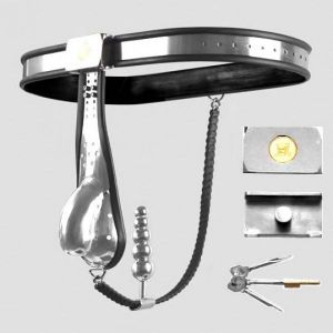 Male Fully Adjustable Model-T Stainless Steel Chastity Belt with hole Cage Cover and Chain and Plug