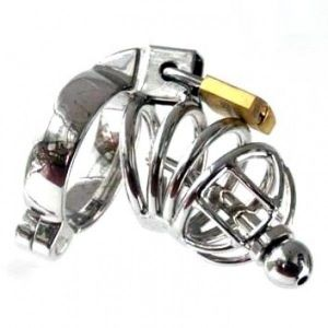 Metal Asylum Chastity Device with Urethral Stretching Penis Plug and Two Rings