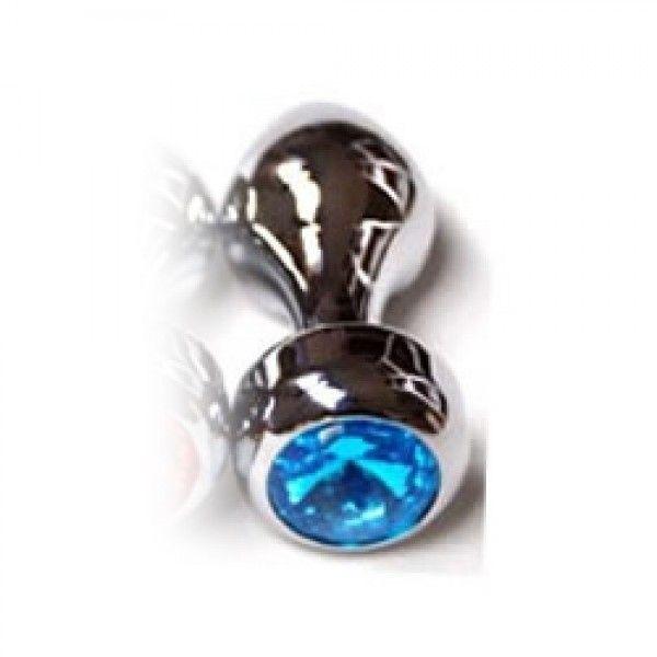 Серебристая анальная пробка с голубым драгоценным камнем