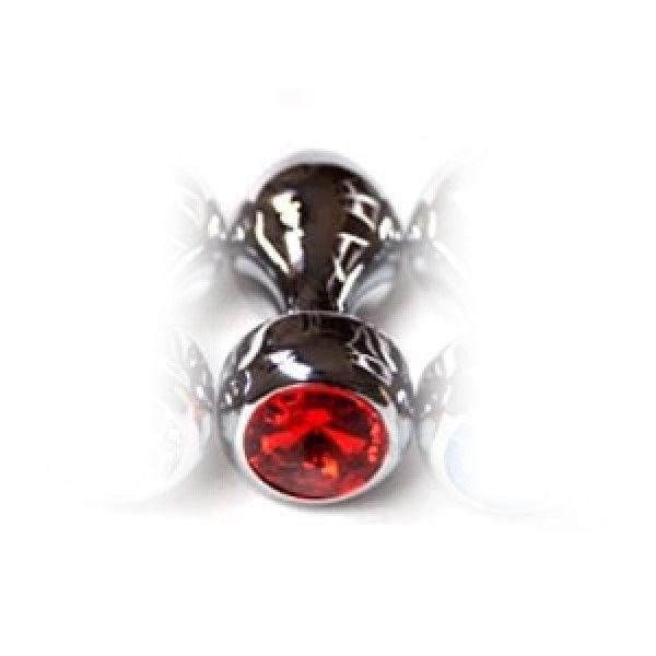 Серебристая анальная пробка с красным драгоценным камнем