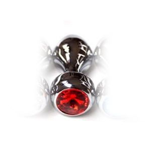 Silver butt plug with red jewel