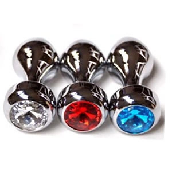 Silver butt plug with red jewel. Артикул: IXI40656