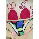Red Mix Match Boho Crochet Bikini Swimsuit