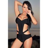 Black Hollow-out Cross Back Bandage Monokini