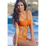 Eye-popping Orange Cut-out Bandage One-piece Bikini