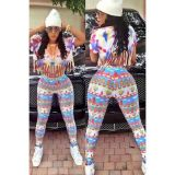 Floral Print Fashion Tassel 2pcs Pant Set