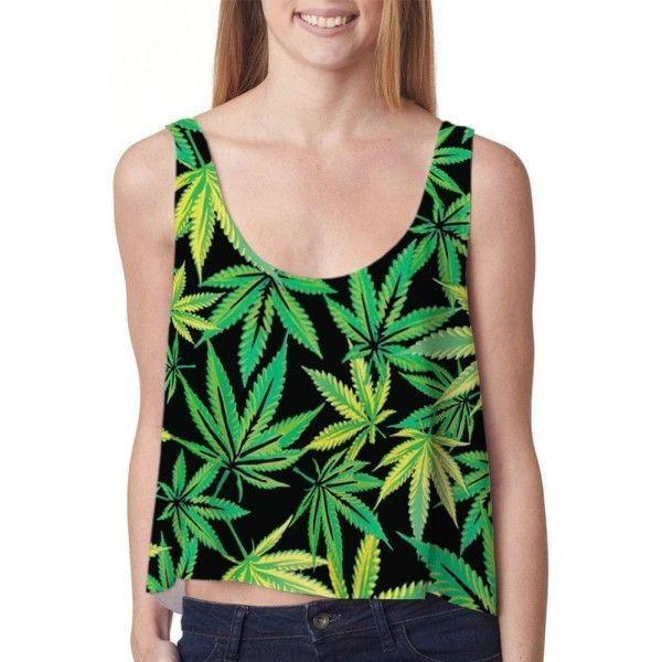 Короткий топ женский с принтом листьев марихуаны