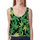 Womens halter top with a print of marijuana leaves