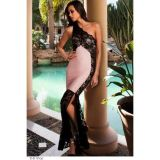Pink Lace Detail One Shoulder Side Slit Maxi Dress