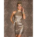 Apricot Sequined Halter Clubwear Dress