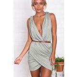Grey Plunge Neck Pleated Wrap Mini Dress