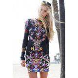 Black Multicolor Orchid Garden Print Dress