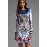 Crystal Corset Pattern Long-sleeve Print Dress