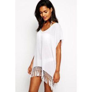 Короткая пляжная накидка-кимоно - Пляжная одежда