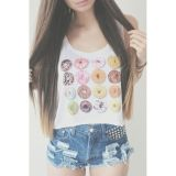 Sexy Cute Cookies Printing Women Crop Top