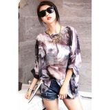 Korean Fashion Mix Color Print Chiffon Blouse