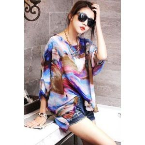 Abstract Painting Batwing Sleeve Pullover Blouse. Артикул: IXI42163