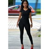 Short Sleeve Tight-fitting Jumpsuit with Back Cutout