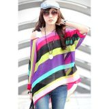 Unique Rainbow Print Oversize Chiffon Blouse