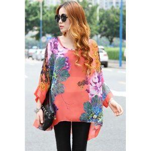 Summer Fashion Floral Print Boho Chiffon Blouse. Артикул: IXI42195