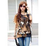 Women Fashion Tiger Print Batwing Sleeve Blouse