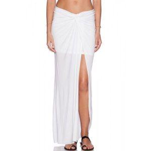 White Ruched Slit Maxi Skirt. Артикул: IXI42234