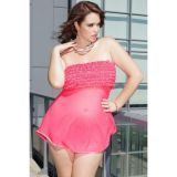 Plus Size Pink Tickled Ruffle Babydoll Set