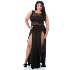 Black Plus Size Reign Maxi Dress. Артикул: IXI42277