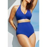 Solid Blue High-waisted Halter Bikini Swimsuit