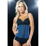 Plus Size Blue 9 Steel Bones Latex Under Bust Corset