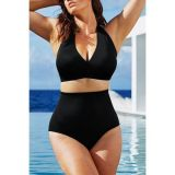 Solid Black High-waisted Halter Bikini Swimsuit